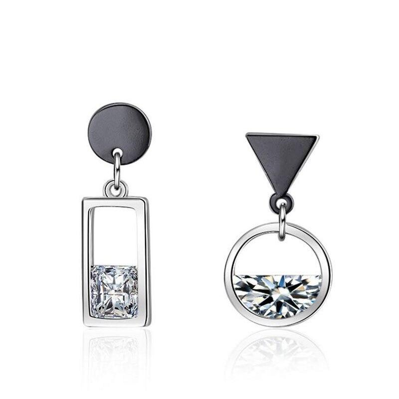 a2a35d96d00 Anenjery 925 Sterling Silver Earrings Spring Water Zircon Gun Black Color Circle  Square Asymmetric Tassel Earrings S E518-in Stud Earrings from Jewelry ...