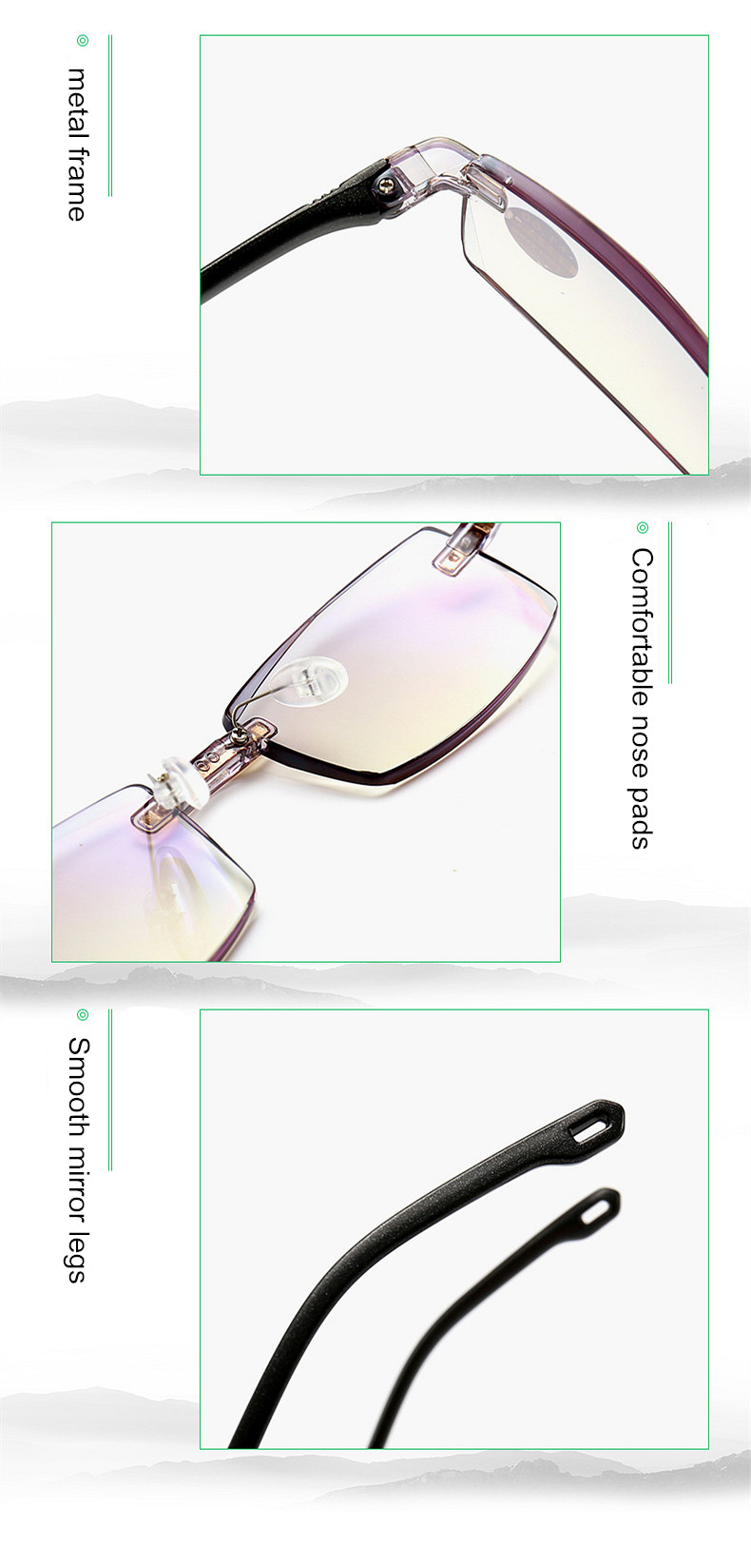 XojoX Anti Luz Azul Mulheres Óculos de Leitura Sem Aro Óculos Moda ... c2ea2441f3