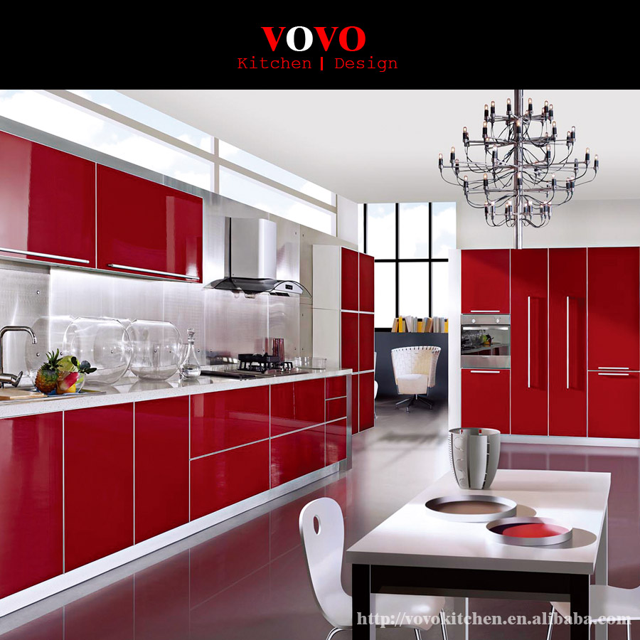 Red Kitchen Cabinets: Rose Red Kitchen Cabinets-in Kitchen Cabinets From Home