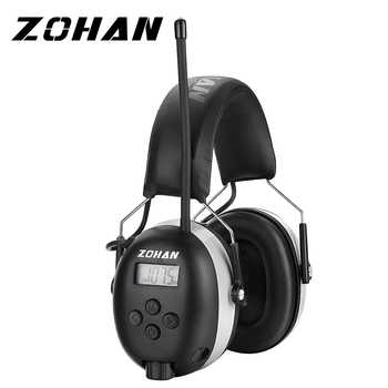 ZOHAN Digital AM/FM Stereo Radio Ear Muffs NRR 24dB Ear Protection for Mowing Professional Hearing Protector Radio Headphone - DISCOUNT ITEM  41% OFF Security & Protection