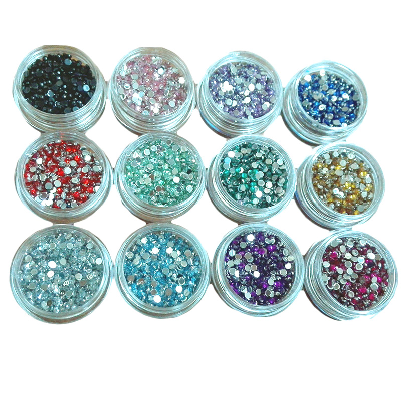 12 Jars 2.0mm Flat Back Beads Nail Rhinestones Acrylic Nail Art Decoration for UV Gel Phone DIY Nail Glitters Gems Tools