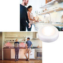 RGB 12 Colors Dimmable led Under Cabinet Light Touch Sensor LED Puck Light Closet Cupboard Showcase Drawer Wardrobe Indoor Light