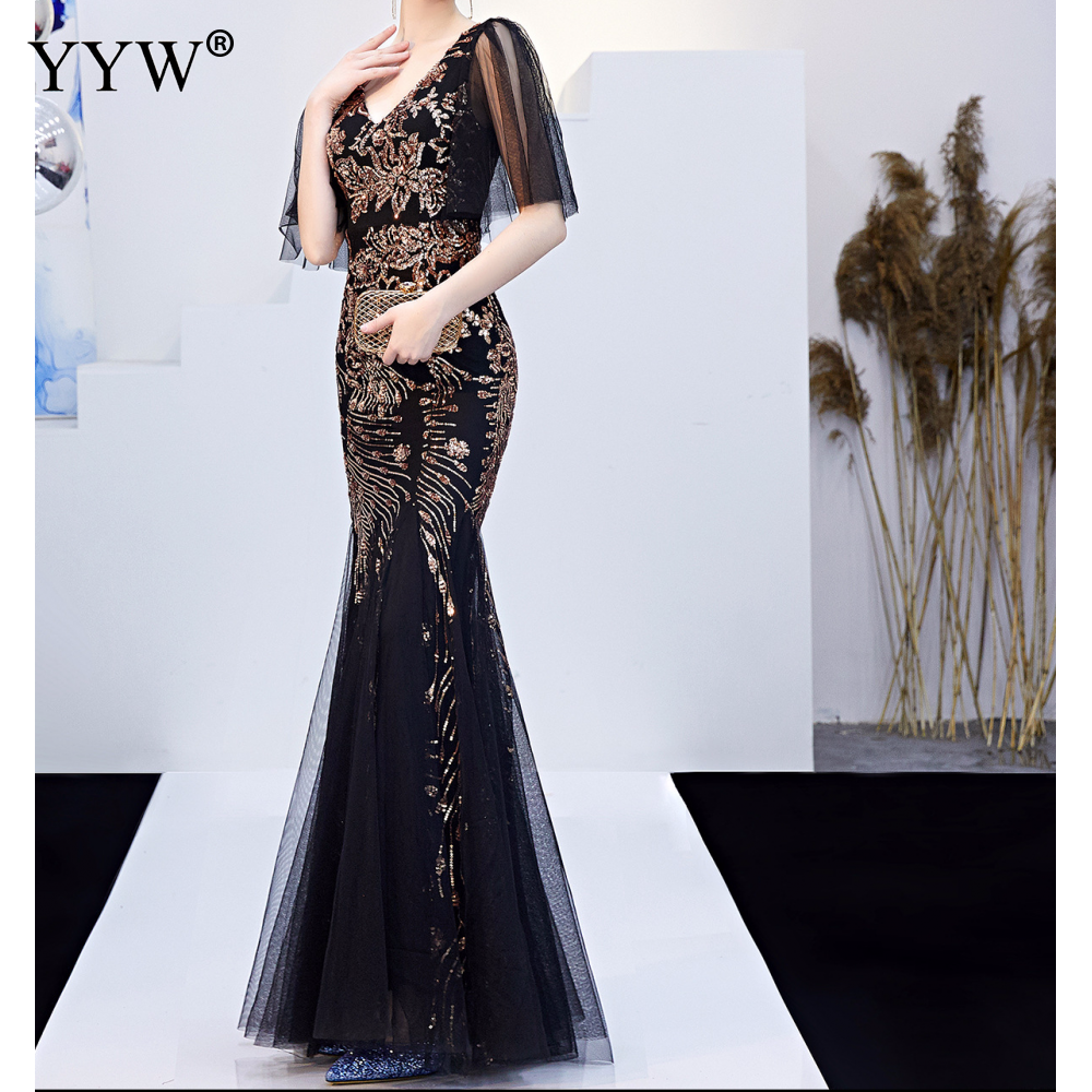 Black Mesh Gold Floral Sequined V Neck Mermaid Dress Luxury Formal Evening Party Long Dress Batwing Sleeve Sexy Nightclub Wear in Evening Dresses from Weddings Events