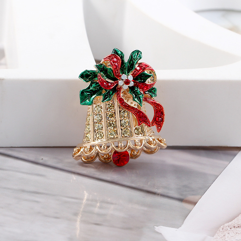 Exquisite Christmas Bell Brooch Colorful Pin