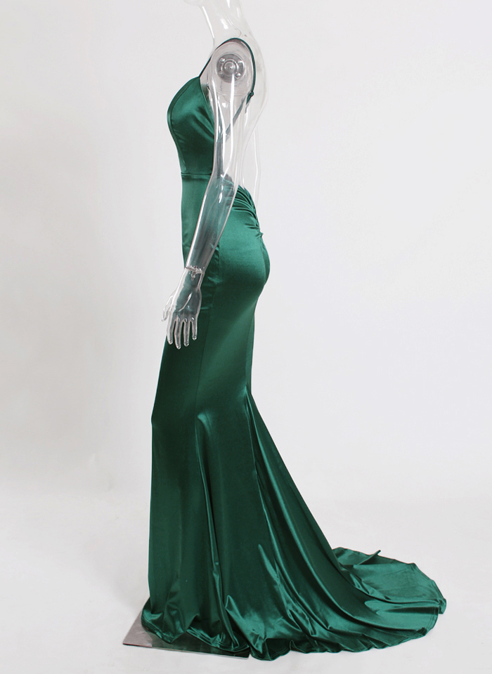 Deep V-Neck Burgundy Satin Mermaid Open Back Long Evening Dress 45