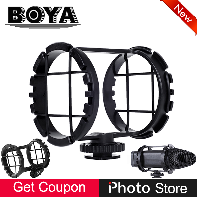 BOYA BY-C03 Professional Microphone Shock Mount for BY-VM300PS BY-V02 40mm-48mm Mic on DSLR Camera Camcorder Zoom H1 Cold Shoe