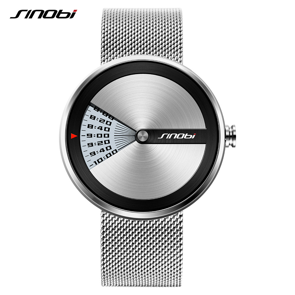 SINOBI Luxury Brand New Design Men Watch Silver Stainless Steel Mesh Band Quartz Watches Men Simple Slim Business Male Clock alcasta m21 6x15 5x112 d57 1 et47 bk