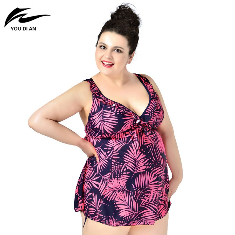 2017 New Arrival Leaf Printed Swimwear One Piece Swimsuit For Women Summer Dress Plus Size One Bathing Suit Sexy 5XL Beachwear fashionable strappy printed cut out one piece swimsuit for women