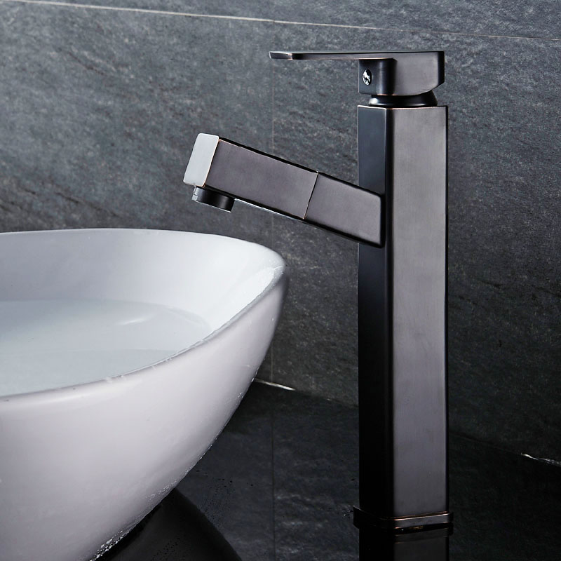 Tall Square Brass Black Pull Out Bathroom Faucet Sink Basin Mixer Tap Cold Hot Water taps With Hand Spray Wholesale JK013BT black brass vanity sink pull out faucet basin mixer hot and cold water for bathroom toilet kitchen