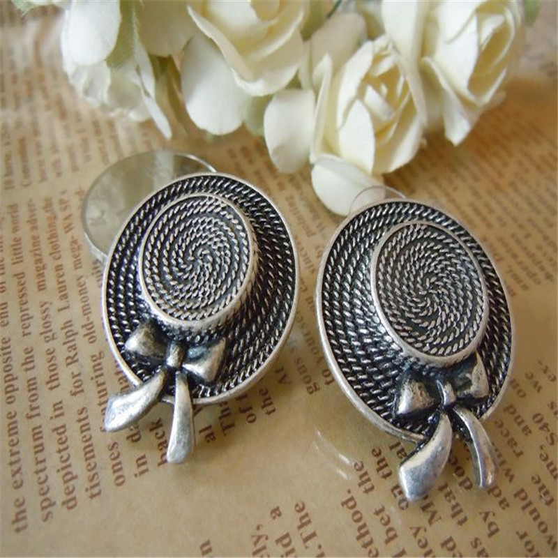 Free shipping 2015 Vintage Silver font b hat b font Earrings The new popular banquet texture