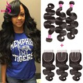 Rosa Hair Products Brazilian Virgin With Closure 3Bundles Body Wave Brazilian Hair Weave Bundles With 4X4 Lace Closure Bodywave