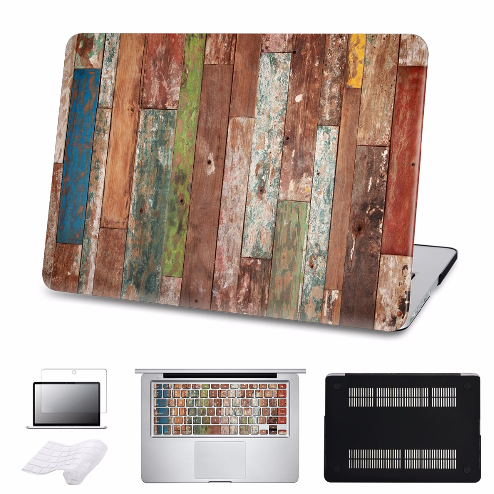 Crude wood Case For Macbook Air/Pro 11 12 13 15 Ratina Laptop Hard Cases for Pro 13 Touch bar 2016 Cover Shell 5 in 1 Bundle 5 in 1 bundle leopard cover case for apple macbook air pro retina 11 12 13 15 inch hard shell laptop bag with keyboard sticker