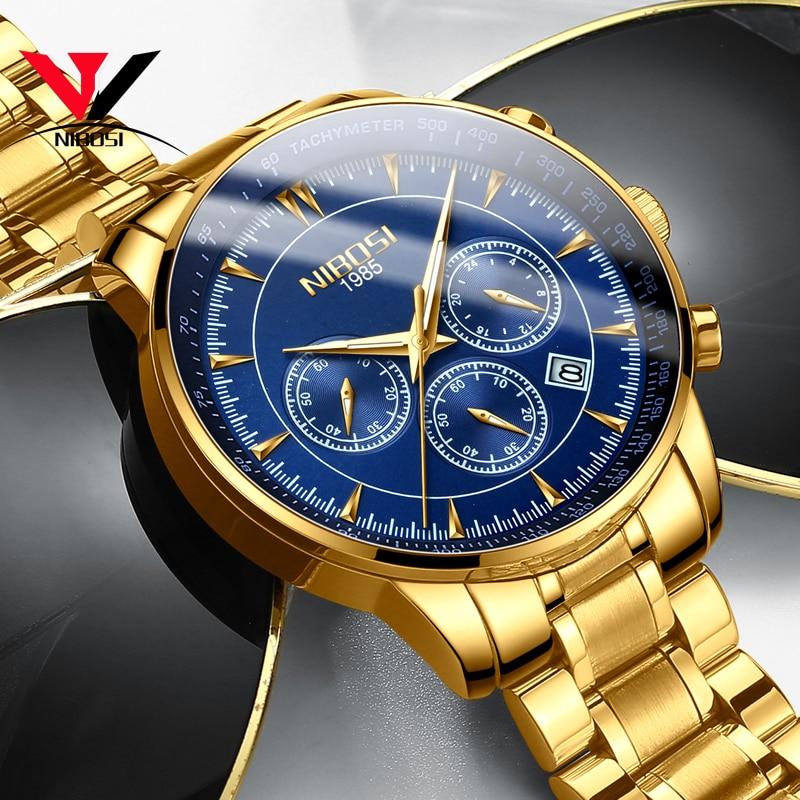 Reloj Masculino NIBOSI relojes de cuarzo pulsera de acero para hombre 2018 relojes de pulsera impermeables de marca de lujo para hombres marca Saat