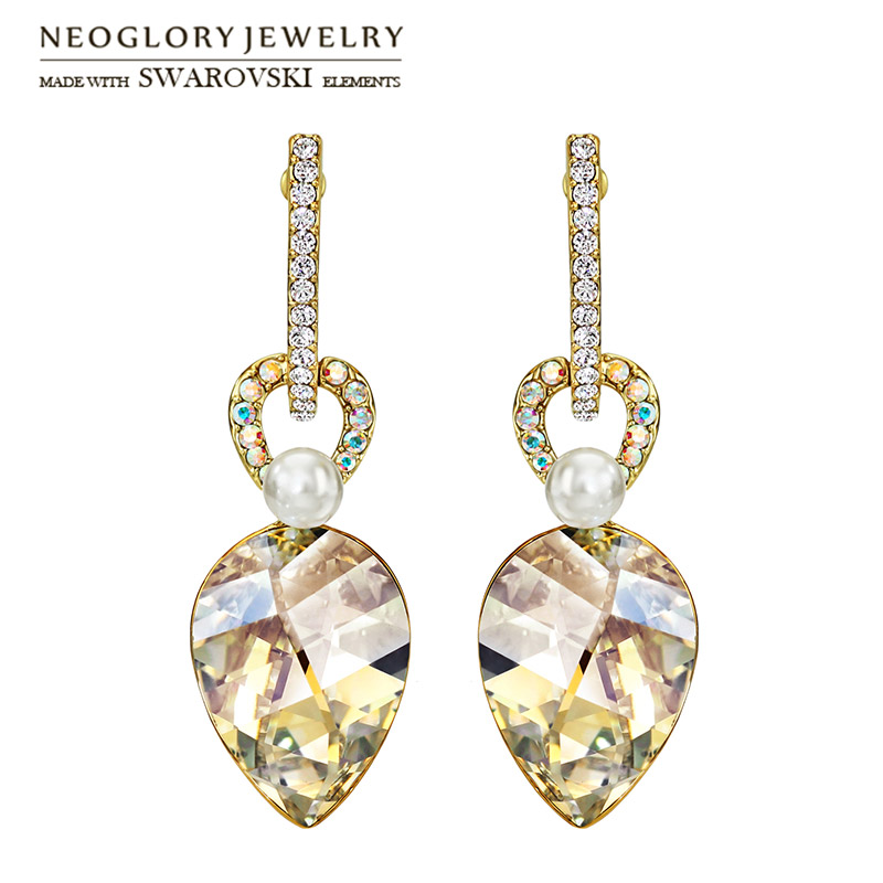 Neoglory MADE WITH SWAROVSKI ELEMENTS Crystal & Rhinestone Drop Earrings Light Yellow Gold Color Geometric Style For Trendy
