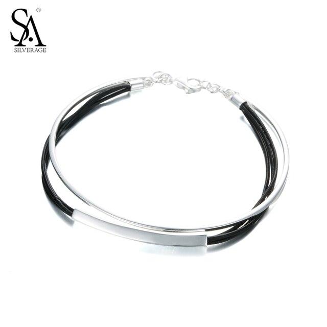 Sa silverage настоящее стерлингового серебра 925 черный кожаный браслет двойной слой дамы цепочки, браслеты-ювелирные