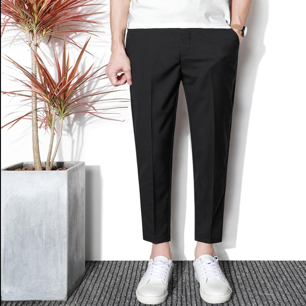 27-36 Spring And Summer Nine Points Trousers Men Slim Casual Tide Pants Feet Solid Color 9 Small Suit Pants Hairstylist Costumes