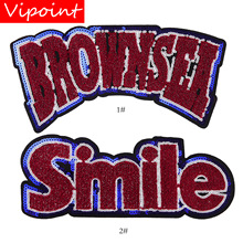 embroidery chenille letters patches for jackets,smile badges jeans,applique coats A235