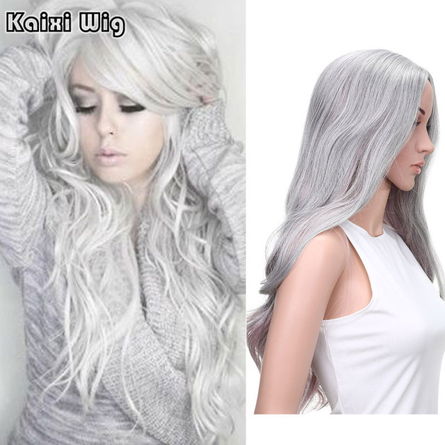 26\'\'Long Curly Grey Ombre Pink Wig Long Curly Hairstyles For Women ...