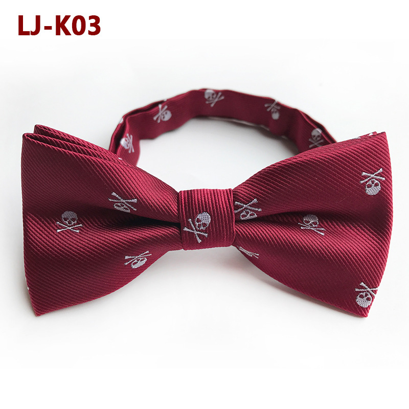 2018 New Wine Red Skull Head Halloween Bow Tie Shirts Bowtie Butterfly Men Business Accessory