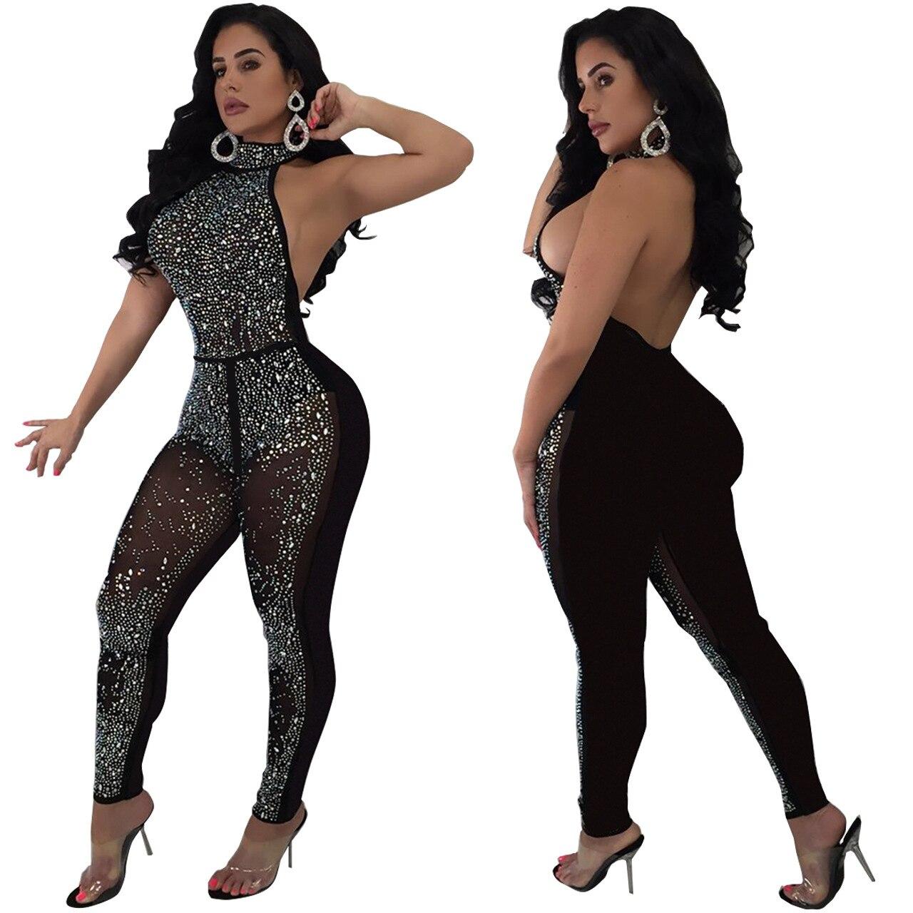Female Backless Halter Stretch Shining Black Jumpsuit Mesh Wear Sleeveless Bodysuit Party Sexy Women Crystals Club Q144 qBaw0wY