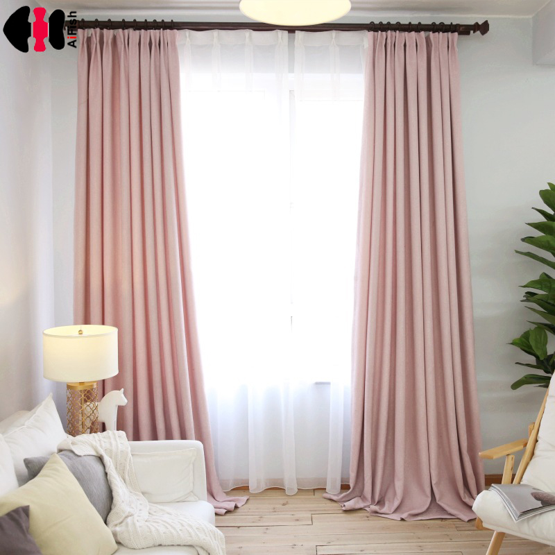Buy simple style pink linen cloth room for Bedrooms curtains photos