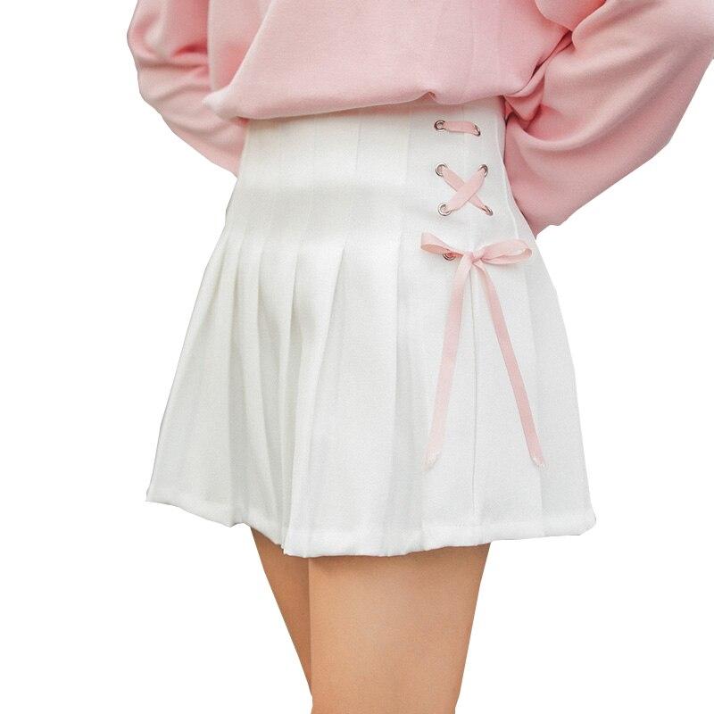 Lolita Skirts Womens 2018 Harajuku Style Korean Fashion Summer Skirt Kawaii Lace Bow Pink Cute High Waist Pleated Skirt Women