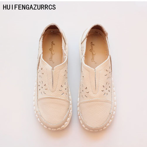 HUIFENGAZURRCS-New Genuine leather shoes,pure handmade lazy shoes, Hollow casual shoes ,Sweet art flat white shoes,3 colors huifengazurrcs new genuine leather