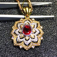 luxury fine jewelry wholesale SGARIT brand classic 18k rose gold diamond 1.5ct natural Ruby pendant necklace for women wedding