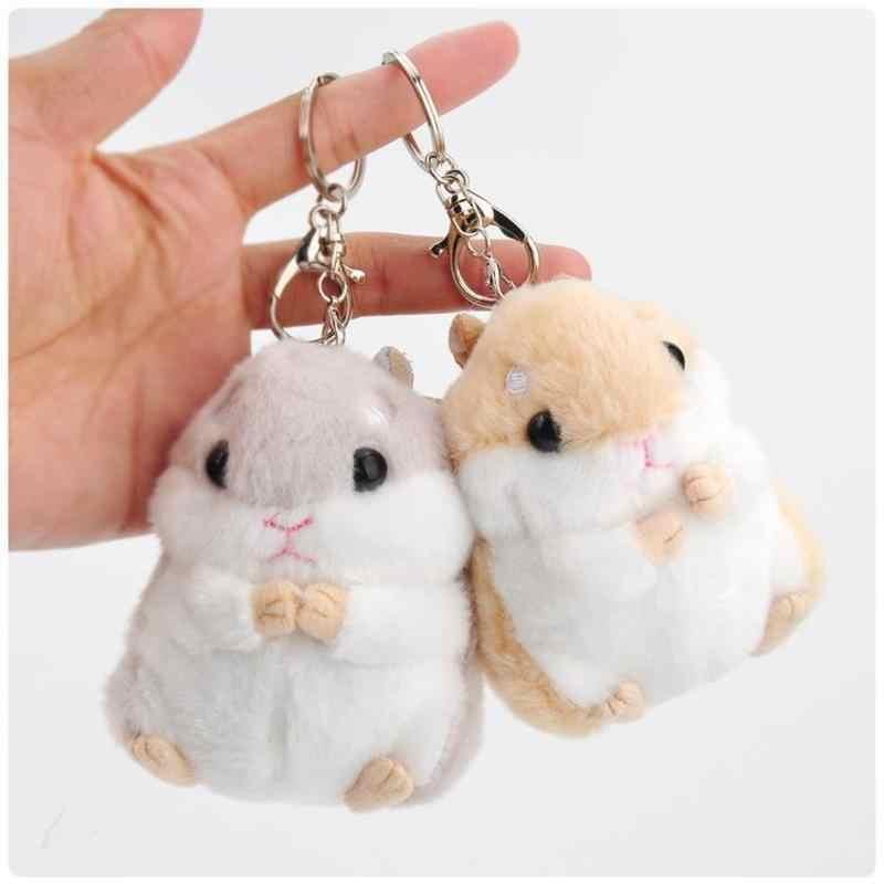 Kawaii bonito hamster pelúcia chaveiro brinquedo dos desenhos animados animal pequena boneca chaveiro pingente recheado mouse bebê crianças brinquedo
