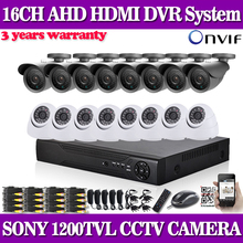16 Channel sony 1200TVL video Surveillance safety Digicam system h.264 DVR Recorder 16ch CCTV dvr package for house surveillance