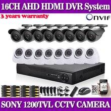 16 Canales sony 1200TVL CCTV 16ch h.264 DVR Grabador de video Vigilancia de La seguridad dvr kit de vigilancia inicio