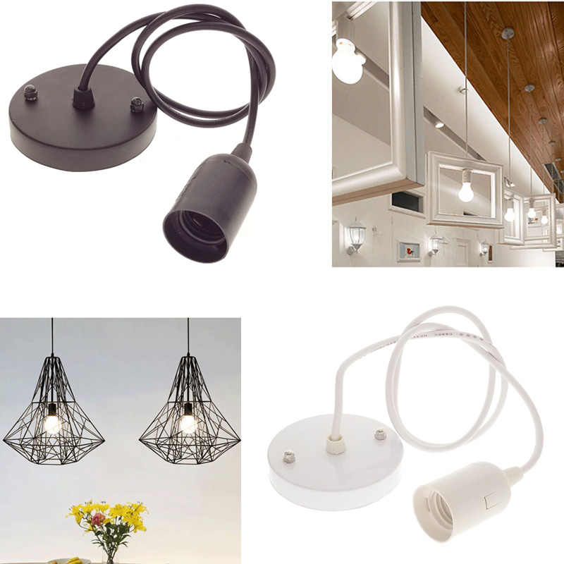 E27 Lamp Base Socket Ceiling Pendant Light Lamp Holder Black/White/Silver Lamp Bases Hanging Light Fitting Decor 220V