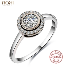 Фотография Luxury GS Brand 925 Silver Ring for Women Vintage Jewelry Fashion CZ Diamond Rings White Crystal Bijoux Bague for Wedding Band