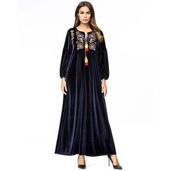 376ffd13ce5cb29 Элегантное платье с круглым вырезом и запахом, Женское зимнее бархатное  платье с длинными рукавами, Femme, 2018 Длинные платья для вечеринок, Robe .