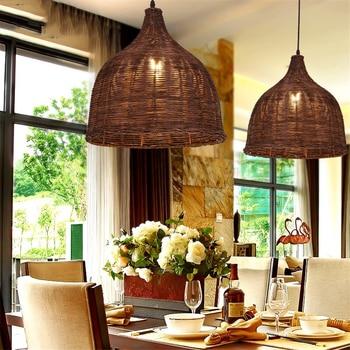 Handmade Rattan Weaving Chinese Style Pendant Lights Art Lighting Fixtures,Retro Rural Restaurant Coffee Decorate Hanging Lamp