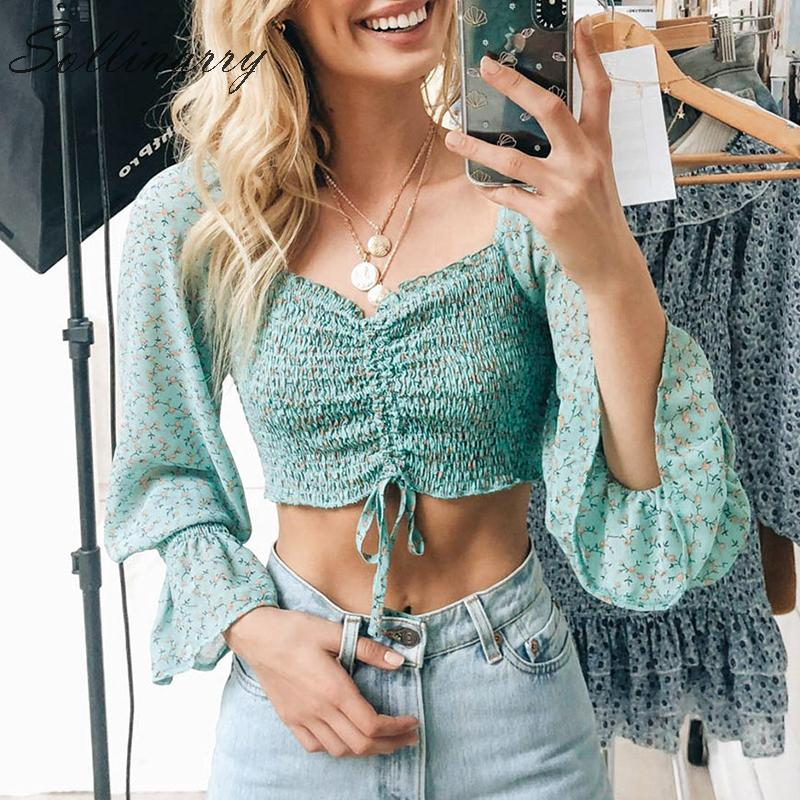 Sollinarry Floral Women Autumm Tops Blouse Green Twist Long Sleeve Short Shirt Holiday Female Winter Casual Blouses Top Blusa
