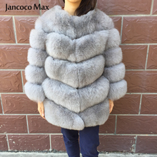 Jancoco Max 2019 Real Fox Fur Coat Womens Winter Outerwear 5 Rows Warm Jackets Fashion Style Female Overcoat S7220