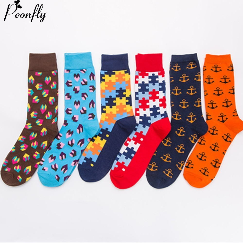 PEONFLY 6pairs/lot Cotton Men Socks Quality Brand Fall Colorful Pattern Coolmax Funny Happy Dress Wedding Male Crew Socks