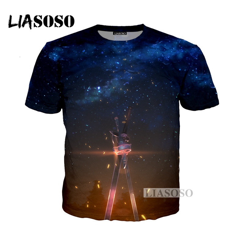 LIASOSO NEW Anime Sword Art Online Tees 3D Print T-shirt/Hoodie/Sweatshirt Unisex Cosplay Sexy katana kirito T Shirt Tops G336