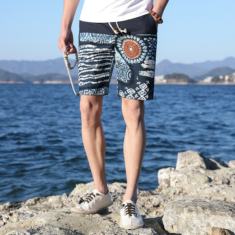 Summer Men's Multi Color Printing Casual Shorts Men's Dress Youth Beach Play Short Pants Ethnic Style Linen Printed Beach Short