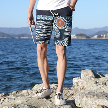 Summer Mens Multi Color Printing Casual Shorts Dress Youth Beach Play Short Pants Ethnic Style Linen Printed