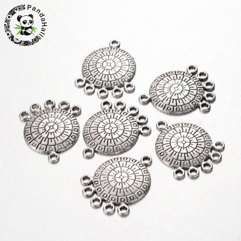 Tibetan Style Flat Round Chandelier Components, Antique Silver, Lead Free, Nickel Free and Cadmium Free, 27x21x2mm, Hole: 2mm