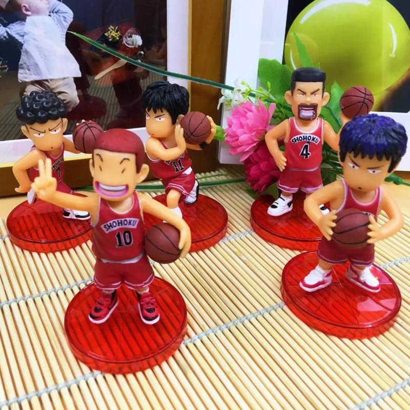 5pcs/lot Japan Anime 8cm Slam Dunk Action Figures Basketball Sakuragi Hanamichi Toys