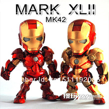 New Marvel MK42 Iron Man 3 Action Figure, Superhero PVC Figure Toy wtih LED light 15cm Chritmas Gift