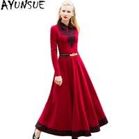 AYUNSUE 2018 Autumn Winter Red Long Dress Women Elegant Lace Maxi Dress Evening Party Dresses Clothes