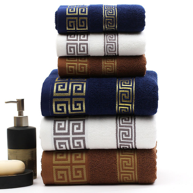 Great Wall Pattern 100% Cotton Bath towel Sets Embroidered Beach Towels for Adults Luxury Brand High Quality Soft Face Towels
