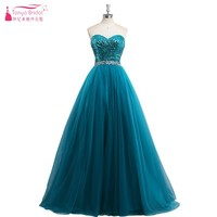 Teal Green Sequins Long A Line Tulle Prom Dresses Crystal Prom Gown Real