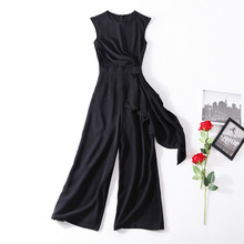 Solid sleeveless wide leg ankle length jumpsuits 2018 new runway women summer high quality office lady casual jumpsuit