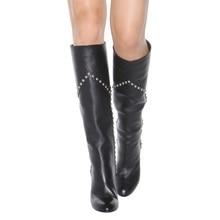 Nancyjayjii Women Fashion Black Knee-High Rainstone Boots Round Toe High Heels Dress&Office Bead Slip-on Shoes,Plus Size 4-16