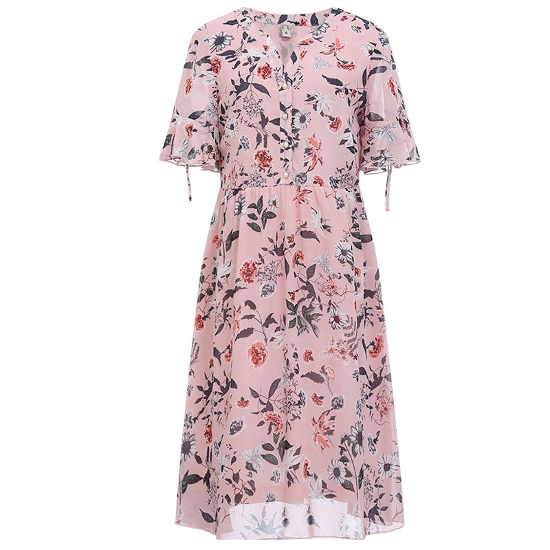 MUSENDA Plus Size Women Pink Chiffon Print V-Neck Flare Sleeve Tunic Dress 2018 Summer Sundress Ladies Casual Sexy Beach Dresses